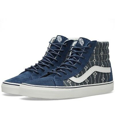 3ce1a2492a5799 Vans Off the Wall Sk8 Hi Reissue Indigo Blue Mood Blanc de Blanc Shoes Mens  11.5