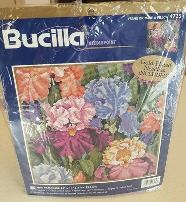 Bucilla 'IRIS PARADISE' Needlepoint Kit #4725 NEW SEALED