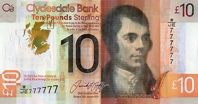 """Clydesdale £10 note Solid """"777777"""""""