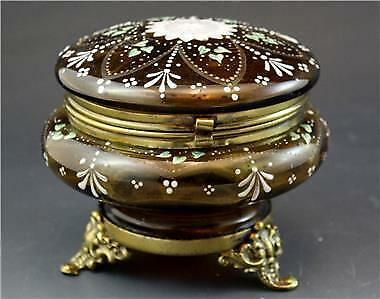 C1910 French Victorian Amber Enameled Glass Dresser Box w/ Art Nouveau Flowers