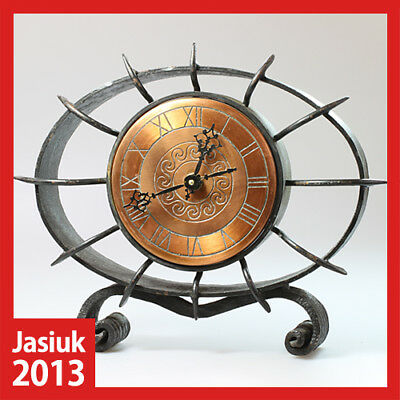 vintage Germany Cast Iron Copper Metal Mantel Desk Shelf Table Electronic Clock
