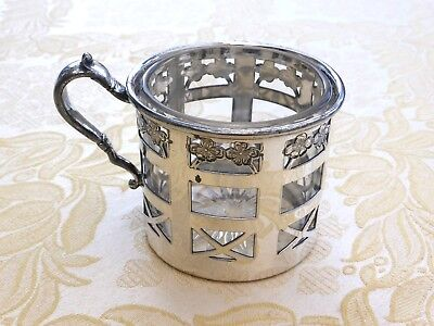 Vintage Glass Cup In Silver Plated Floral Lattice Cup Holder   1410430/437
