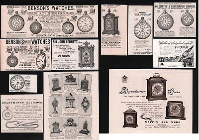 Old Antique Advert Selection Advertising Clocks Watches Time Pieces 1883 / 1955