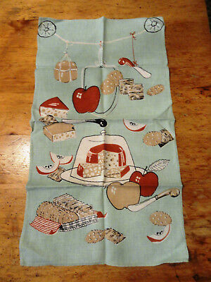 Vintage Kitchen Towel Apples/Cheese/Crackers Design 28x16 VGC (6948)