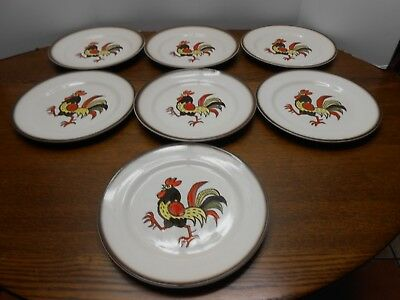 """Vintage Metlox Poppytrail California Red Rooster Dinner Plates 10"""" Lot of 7"""