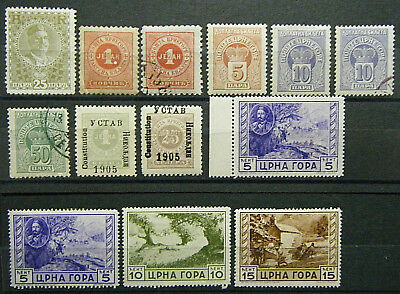 Montenegro BOB and Occupation Stamp Collection 1894-1943 Lot of 13 MINT and Used