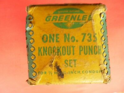 Vtg. Greenlee Knock Out Punch Die Set No.735 In Leather Pouch And Original Box