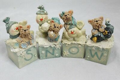Winter Yorkies SNOW Block Letters Yorkshire Terrier Collectibles Dogs Snowmen