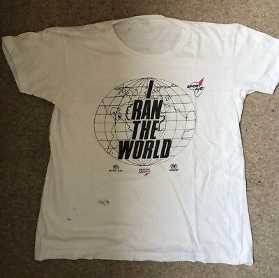 Sports Aid 1986 - I Ran The World White Souvenir Race T-Shirt