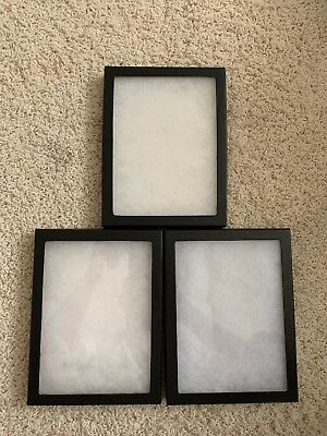 Set Of 3 Lightly Used Riker Display Case 6 x 8 x 3/4 for Collectibles Jewelry