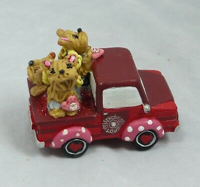 Yorkshire Terriers Valentine's Day Trucking Yorkies Figurine Collectible Dogs