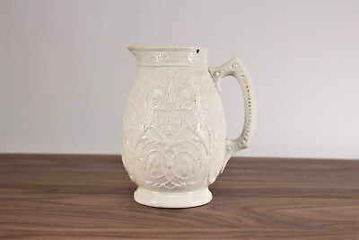 1874 Salt Glazed Pottery Jug Shamrock Thistle Scroll Raised Pattern English
