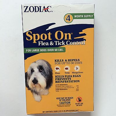 Zodiac Spot On Flea and & Tick Control for Large Dogs over 60 lbs 4 month Supply