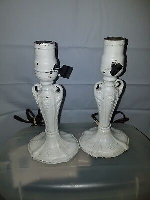 2 Antique Cast metal Boudior Lamps Shabby Chic French Country CHIPPEY WHITE