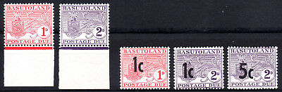 Basutoland 1956 and 1961 Postage Due stamps 2 x Sets SGD3/4 and D5/D7 MNH