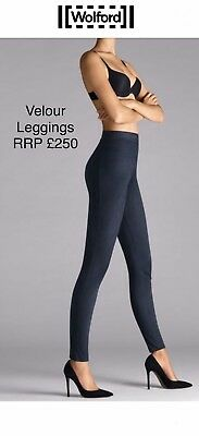 Wolford Suede Effect Leggings NEW In Box Navy Size EU34 UK XS/S RRP £250