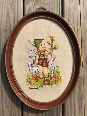 Vintage Hummel crewel embroidery finished piece boy & goats oval framed flowers