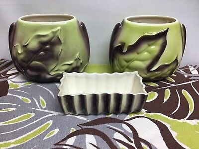 3 Vintage 1950s Royal Copley Green Brown Vases (2) & Planter (1) Tropical Leaves