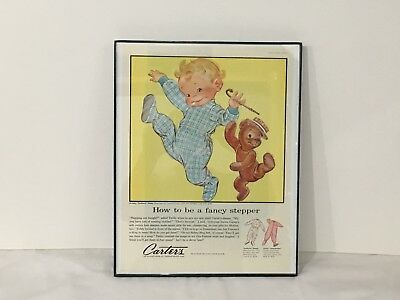 Vintage Framed Carter's Baby Clothes Advertisement - 1957 Ladies' Home Journal