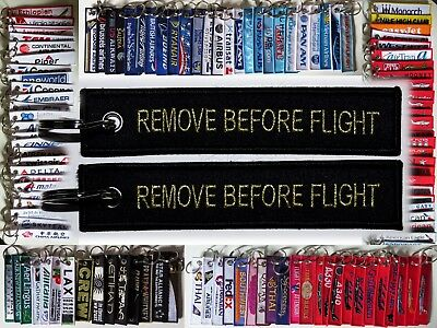 Keyring classic Remove Before Flight tag BLACK / GOLD keychain