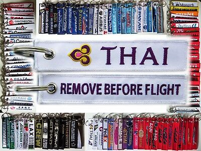 Keyring THAI AIRWAYS WHITE Remove Before Flight baggage tag keychain