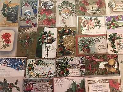 Nice Lot of 25 Vintage 1910 Christmas Holiday Postcards Antique-in Sleeves-a661