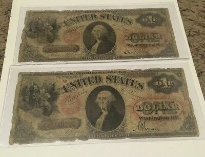1875 $1 Legal Tender United States Note Lot Of 2