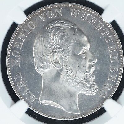 Thaler 1871 NGC MS64 German States Wurttemberg Victory BU UNC Silver Coin