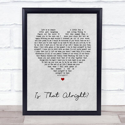 Lady Gaga A Star Is Born Soundtrack Is That Alright Grey Heart Song Lyric Print