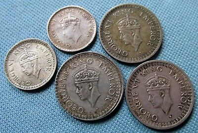 Lot 5 British India King George VI Silver Coins - Half Rupee 1/4 Rupee 1939-1945