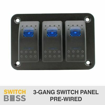 3 Gang Rocker Switch Panel - BLUE - PRE WIRED - LED 4x4 Boat Caravan Marine 12v