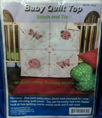Fairway Lady Bug Butterfly Snail Stamped Cross Stitch Pink Baby Crib Quilt Top