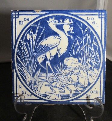 Minton China Aesop Fables Tile Blue Ca 1880 King Stork and King Log