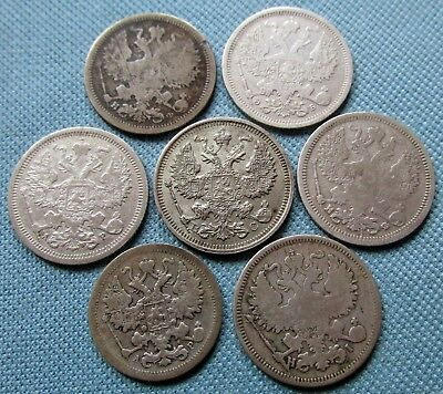 Lot of 7 Russia Empire Old Silver Coins 15 Kopeks 1902 20 Kopeks 1870-1915
