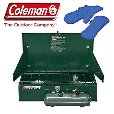 Coleman 2 Twin Double Burner Dual Fuel Stove New + Bonus Pair Oven Mitt Gloves