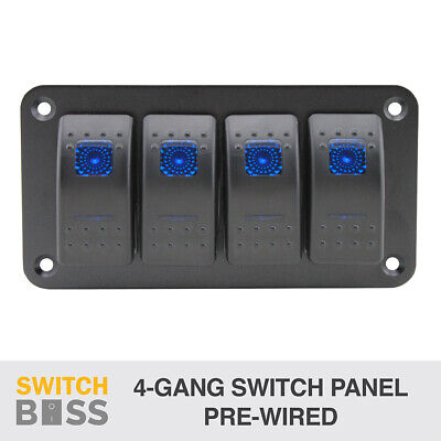 4 Gang Rocker Switch Panel - BLUE - PRE WIRED - LED 4x4 Boat Caravan Marine 12v