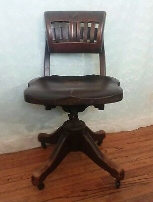 Vintage Wooden Desk Chair Swivel Adjustable Industrial Military Meads/Wheeler