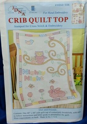 2012 Jack Dempsey Owl & Friends Bunny Stamped Cross Stitch Baby Crib Quilt Top