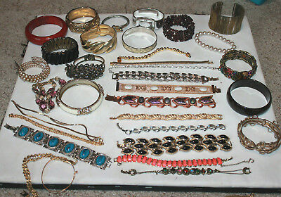 vintage to now lot of 35 Bracelet Bangle Cuff some signed some not great variety