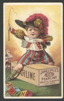 JAMES PYLES PEARLINE WASHING COMPOUND Victorian Trade Card Boy Riding Soap Box