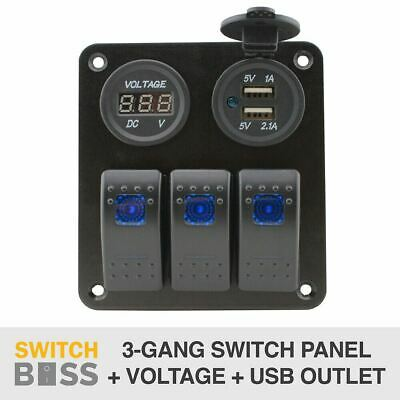 3 GANG Switch Panel + USB outlet + Voltage Meter - LED Caravan 12v Rocker 2.1A