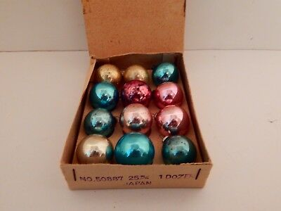 Box 12 Mixed Colors Glass Feather tree Christmas Ornaments Japan