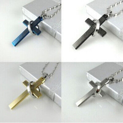 The Bible Holy Cross Titanium Steel Pendent Necklace Ring Men Jewelry L