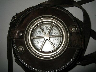 Vintage Detex Watchclock Company Watchman's Clock With Leather Case Steampunk