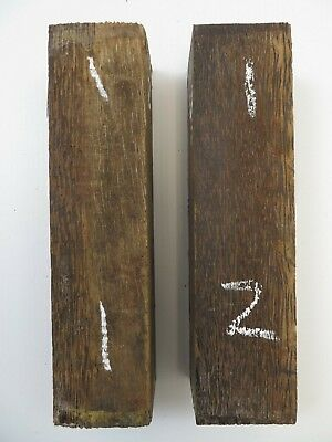 "(2) LOT OF 2,  3 x 12"" BLACK PALM POOL CUE BLANKS, TURNING WOOD, GUN KNIFE SCAL"