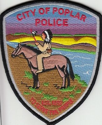 Poplar Police Shoulder Patch Montana Mt Very Nice Colors Indian On Horse
