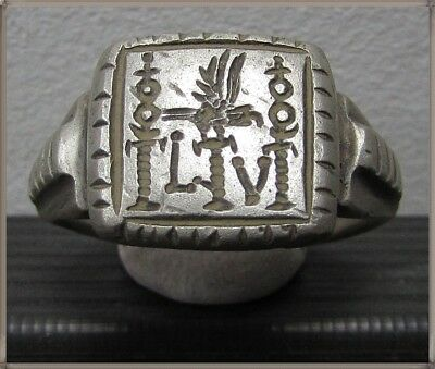** LEGIO V MACEDONICA-AGUILA EAGLE **Ancient Silver Legionary Roman Ring