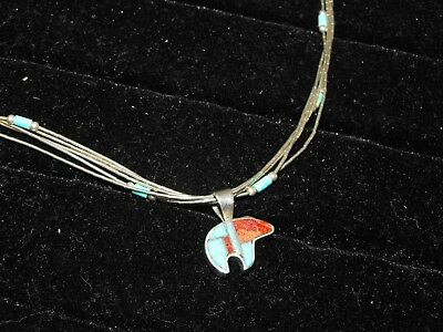Southwest Sterling Liquid Silver Necklace Zuni Turquoise Opal Spirit Bear Charm