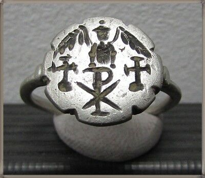 ** VICTORIA with CHI-RHO and TWO CROSSES**Ancient Silver Roman Ring **AMAZING **