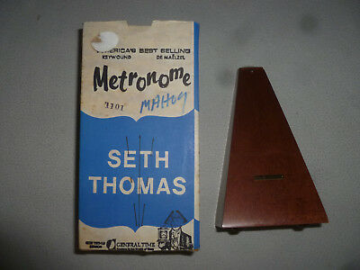 Vintage Boxed Seth Thomas Metronome General Time Mahogany Rare Antique Bell >